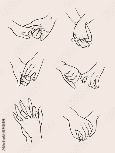 Set of lovers couples holding hands. People in love. Collection isolated illustration.