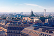 Aerial view of the city rooftops of Paris France