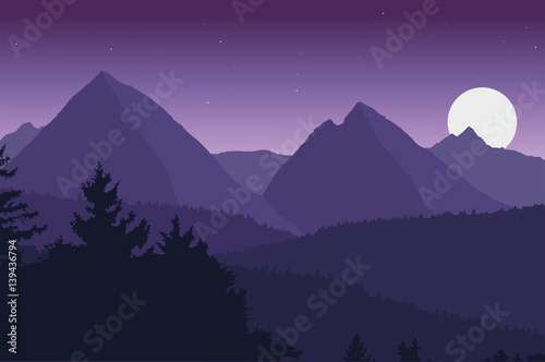 Foto op Plexiglas Aubergine View of the mountain landscape with its forests and hills under a purple sky with moon and stars - vector