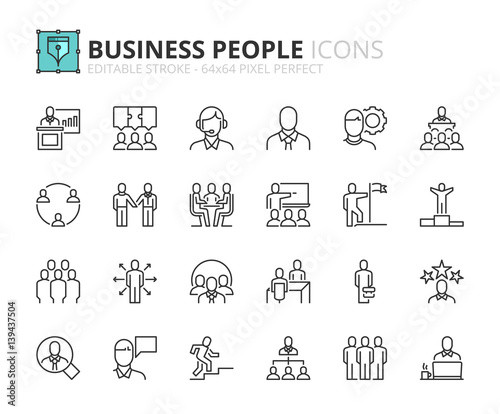 Outline icons about business people