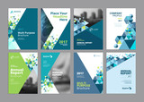 Set of modern business paper design templates. Vector illustrations of brochure covers, annual reports, flyer design layouts, business presentations, ads and magazine, business stationary collection. - 139437903