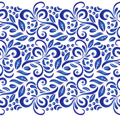 Traditional Russian vector seamless pattern in gzhel style. Can be used for banner, card, poster, invitation, label etc.