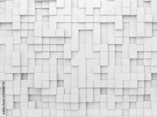 Fototapeta White geometric abstract background with array of cubes.