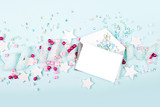Envelopes with empty card on blue background with  with cute decoration: heart, lace ribbon, stars and sequins. Flat lay, top view - 139450538