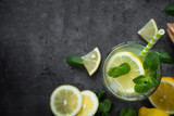 Lemonade Traditional Summer drink. Top view dark background