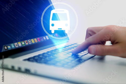 Poster Concept of booking bus ticket online - Travel concept