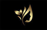 Fototapety natural beauty salon and hair treatment logo in gold and metal color