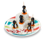 cottage cheese with decorative penguins