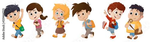 kid waking to school.back to school.