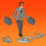 Fototapety Pop Art Blindfolded Businessman Walking with Money Over the Traps. Investment Risk. Vector illustration