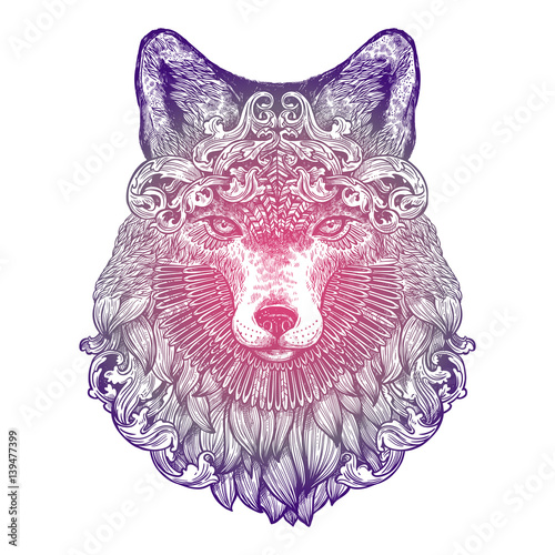 ornamental-lilac-tattoo-fox-head-highly-detailed-abstract-hand-drawn-style