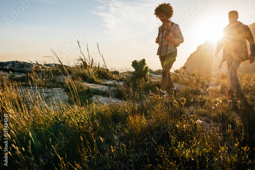 Young people hiking on a summer day