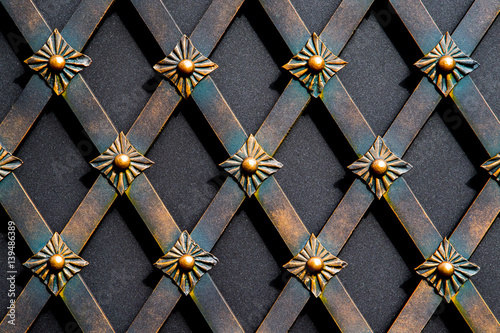 Tuinposter Vlinders in Grunge magnificent wrought-iron gates, ornamental forging, forged elements close-up