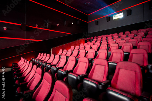 Cinema hall, movie theater, theatre with red armchairs Poster