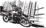 An young woman with long hair riding motorcycle, fast bike in a modern city. Freehand drawing, vector sketch. NOTE - this illustration have not photo oportunity, woman is also not real person.