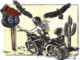 An woman from behind riding motorcycle, chopper bike on the route 66. Freehand drawing, vector sketch. NOTE - this illustration have not photo oportunity, woman is also not real person. - 139497547