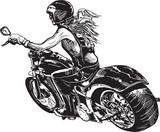 An woman riding motorcycle. An hand drawn vector. Freehand drawing on white, isolated. - 139497570