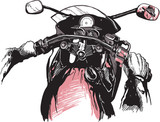 Motorcycle handlebars, behind the bike. Riding fast machine. Hand drawn vector illustration - isolated on white. Freehand sketching.