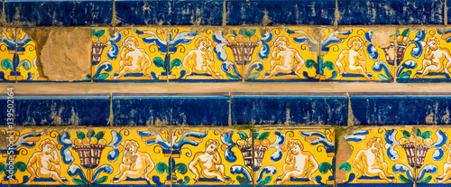 Royal Alcazar of Seville, Staircase with tiles, Spain