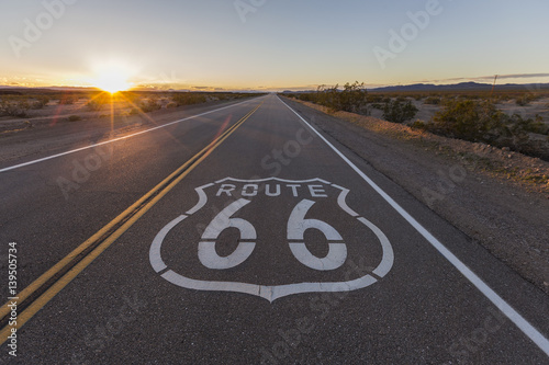 Canvas Route 66 Sunset on Route 66 in the California Mojave Desert.