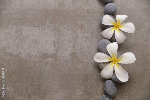 Fotobehang Spa Spa stone with two frangipani on grey background.