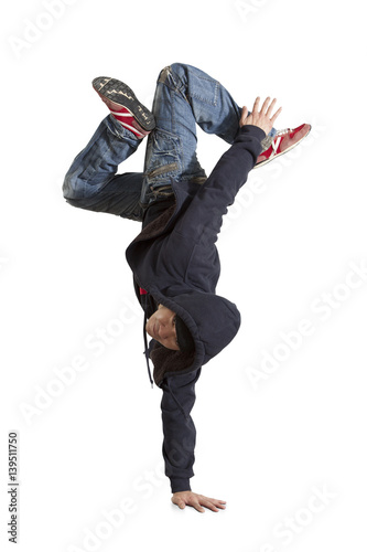 Man break dancing isolated on white background Poster