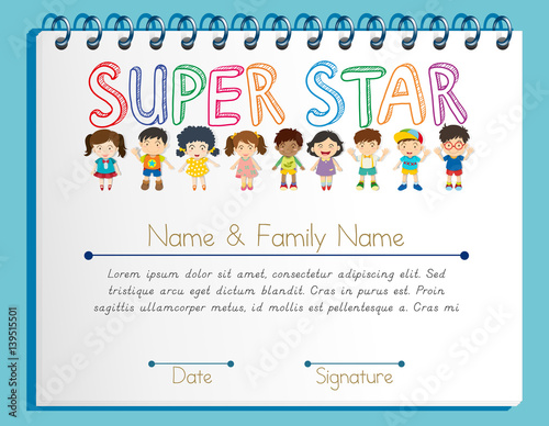 Certificate Template For Super Star With Many Children Buy Photos