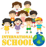 International school poster with many children