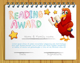 Certificate template for reading award