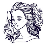 Beautiful vector illustration of a girl and a mask. Phantom of the Opera. Opera diva and Muse. Tattoo poster prints for T-shirts or coloring books. - 139517142