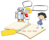 Paper template with happy kids and robot