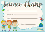 Science champ award template with kids in background