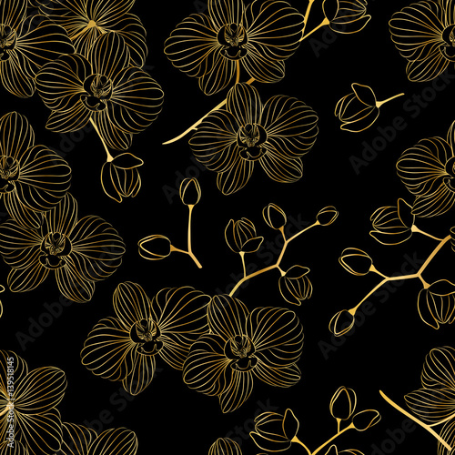 Fototapeta Vector seamless pattern. Beautiful Golden orchids to decorate the background.