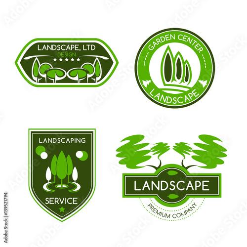 Foto op Canvas Wit Landscape design studio label set