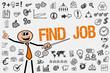 Find Job / Mann mit Symbole