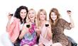 Happy women with glasses of wine.