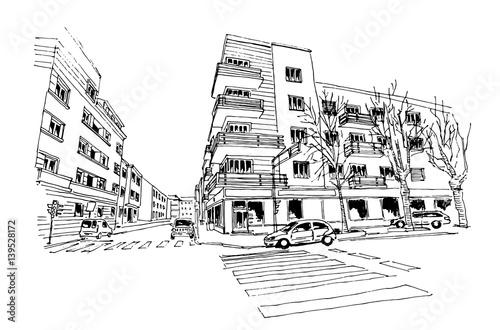 Fototapeta vector sketch of street scene in Zagreb, Croatia.