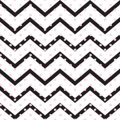 Zigzag geometric seamless pattern with pink polka dots. Black stripes, pink dots pattern. Trendy style fabric print
