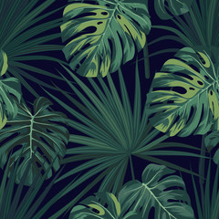 Dark tropical background with jungle plants. Seamless vector tropical pattern with green sabal palm and monstera leaves.