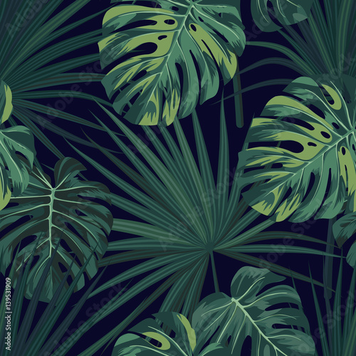 Dark tropical background with jungle plants. Seamless vector tropical pattern with green sabal palm and monstera leaves. - 139531909