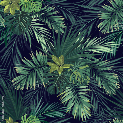 Seamless hand drawn botanical exotic vector pattern with green palm leaves on dark background. © Ms.Moloko