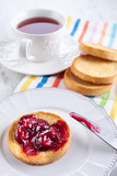 Breakfast with cherry jam
