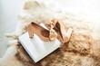 Beige high heel shoes in showroom