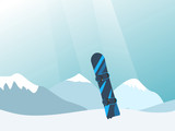 Vector illustration with snowy mountains and snowboard