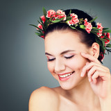Spa Woman Fashion Model Smiling. Skincare and Cosmetology Concept