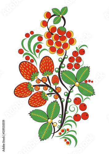 Fototapeta na wymiar Floral ornament with flowers, strawberries and rowan in Khokhloma style in traditional colors isolated on white background. Russian folklore. Vector illustration