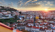 Lisbon historic city at sunset, Portugal