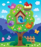 Tree with stylized birds theme image 4