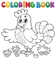 Coloring book happy hen