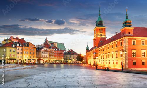 Zdjęcia na płótnie, fototapety na wymiar, obrazy na ścianę : Panorama of Warsaw old town, Poland